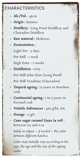 Plantation Jamaica 2005 rum details