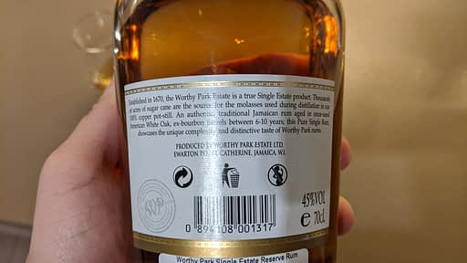 Worthy Park Single Estate Reserve back label