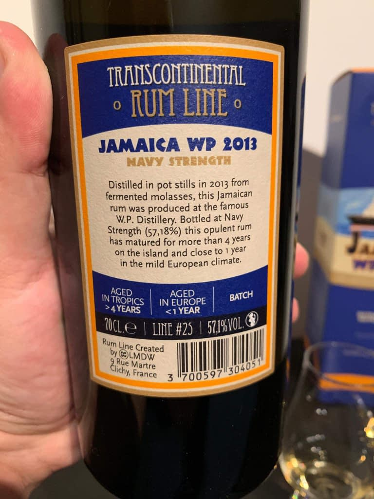 Transcontinental rum line WP 2013 label