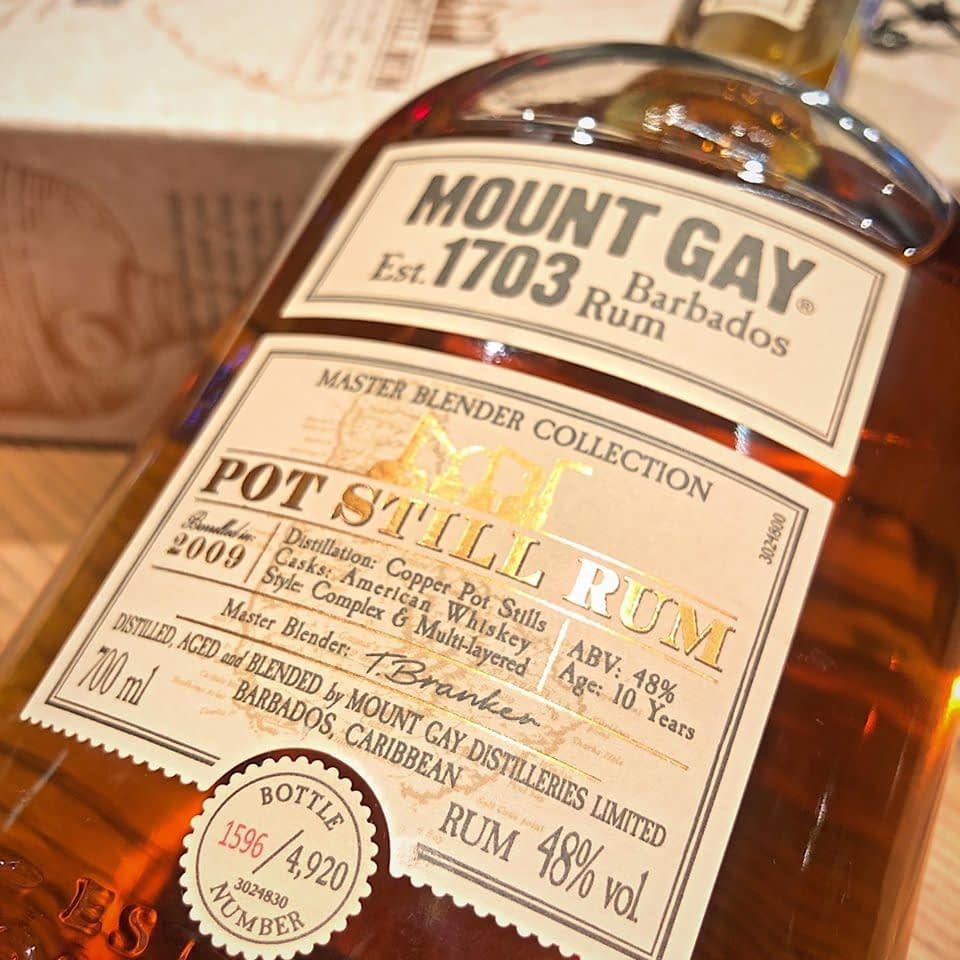 mount gay pot still label